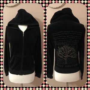 Juicy Couture Black Velour Full Zip Hoodie